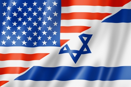 israeli: Mixed USA and Israel flag, three dimensional render, illustration
