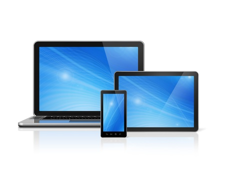 3D laptop, mobile phone and digital tablet pc - isolated on white with clipping path photo