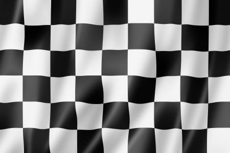 cuadros blanco y negro: Auto de carreras acabado bandera a cuadros, tres de representación tridimensional, textura satinada
