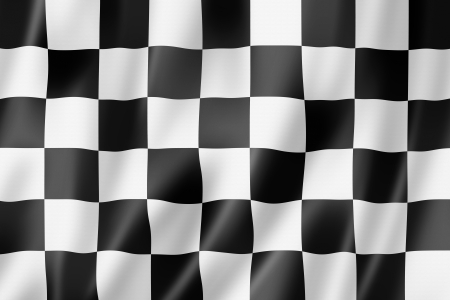 Auto racing finish checkered flag, three dimensional render, satin texture