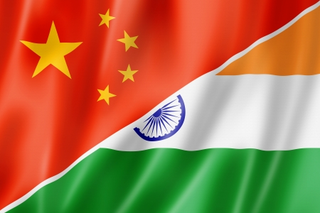 Mixed China and India flag, three dimensional render, illustration illustration