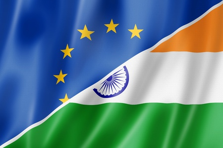 Mixed Europe and India flag, three dimensional render, illustration illustration