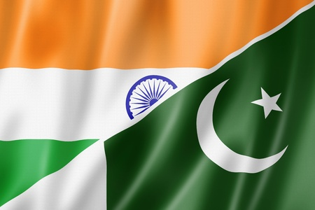 pakistan flag: Mixed India and Pakistan flag, three dimensional render, illustration