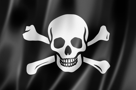 jolly roger pirate flag: Pirate flag, Jolly Roger, three dimensional render, satin texture