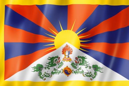 tibet: Tibet flag, three dimensional render, satin texture