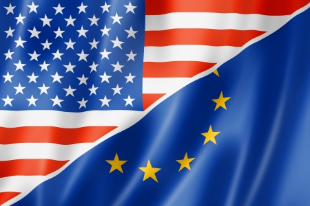 european community: Mixed USA and Europe flag, three dimensional render, illustration Stock Photo