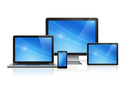 portables: 3D computer, laptop, mobile phone and digital tablet pc - isolated on white with clipping path