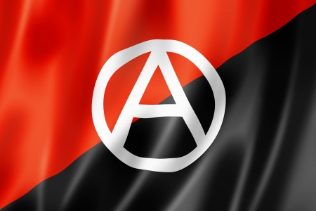 Anarchy flag, three dimensional render, textured Stock Photo