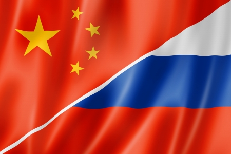 chinese flag: Mixed China and Russia flag, three dimensional render, illustration