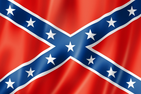 Confederate flag, three dimensional render, satin texture photo