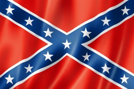 old flag: Confederate flag, three dimensional render, satin texture