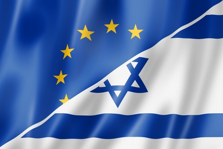 Mixed Europe and Israel flag, three dimensional render, illustration illustration