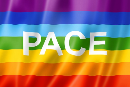 peace flag: Rainbow peace - pace flag, three dimensional render, satin texture Stock Photo