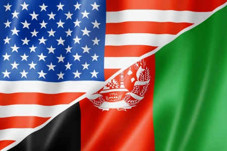 peace flag: Mixed USA and Afghanistan flag, three dimensional render, illustration