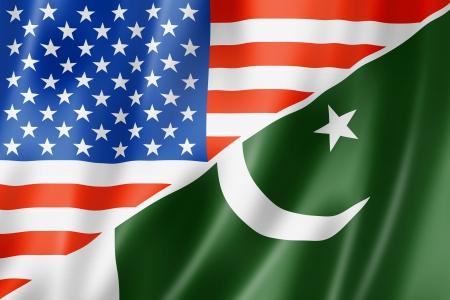 flag of pakistan: Mixed USA and Pakistan flag, three dimensional render, illustration