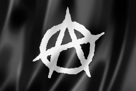 antisocial: Anarchy flag, three dimensional render, textured Stock Photo