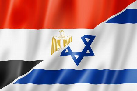 Mixed Egypt and Israel flag, three dimensional render, illustration illustration