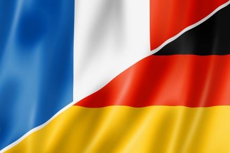 translating: Mixed France and Germany flag, three dimensional render, illustration