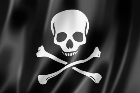 Pirate flag, Jolly Roger, three dimensional render, satin texture Stock Photo - 19907257