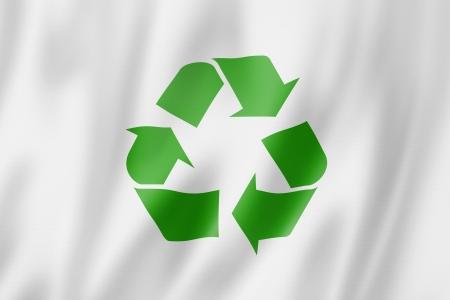 Recyclage symbole drapeau, trois dimensions de rendu, texture satinée Banque d'images - 19907314