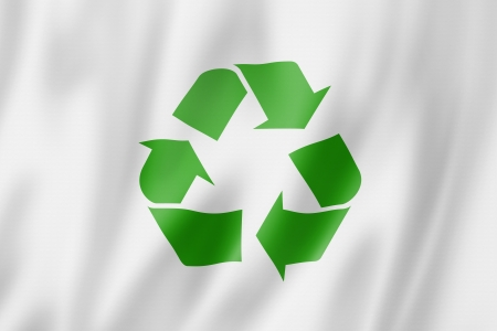 recycling symbol flag, three dimensional render, satin texture Stock fotó