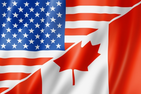 canadian icon: Mixed USA and Canada flag, three dimensional render, illustration