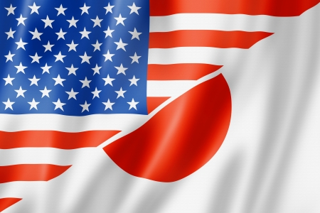 japan flag: Mixed USA and Japan flag, three dimensional render, illustration Stock Photo