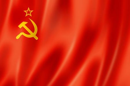russia flag: URSS, bandera de la Uni�n Sovi�tica, tres de representaci�n tridimensional, textura satinada