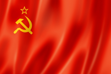 soviet union: USSR, Soviet Union flag, three dimensional render, satin texture