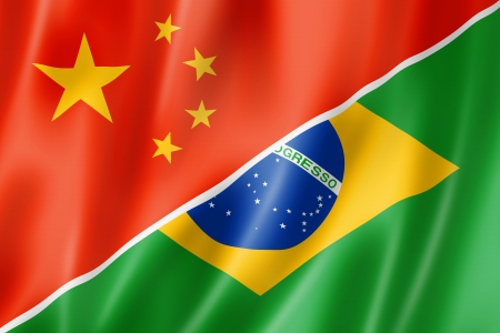 Mixed China and Brazil flag, three dimensional render, illustration
