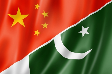 pakistan flag: Mixed China and Pakistan flag, three dimensional render, illustration