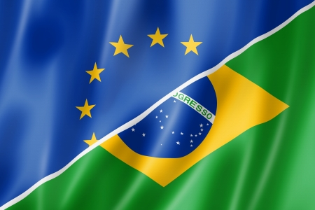 Mixed Europe and Brazil flag, three dimensional render, illustration illustration