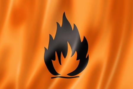 explosive sign: Flammable icon flag, three dimensional render, satin texture