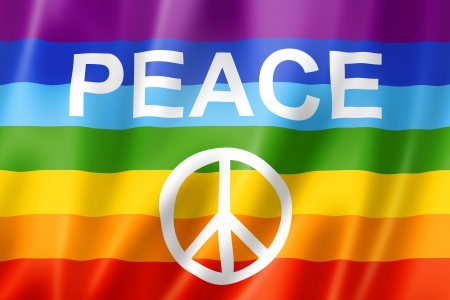 Rainbow peace flag, three dimensional render, satin texture photo