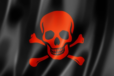 jolly roger: Pirate flag, Jolly Roger, three dimensional render, satin texture