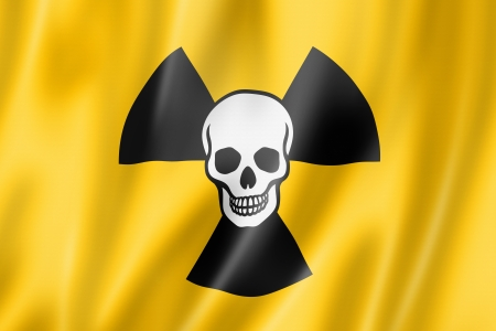 ionizing radiation risk: radioactive nuclear symbol death flag, three dimensional render, satin texture