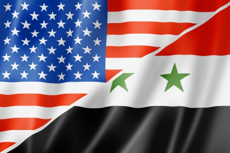 syria peace: Mixed USA and Syria flag, three dimensional render, illustration Stock Photo