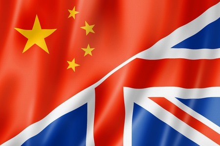 chinese flag: Mixed China and United Kingdom flag, three dimensional render, illustration