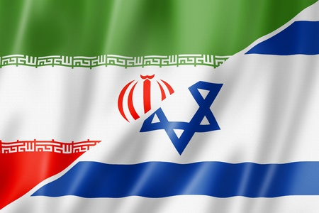 international money: Mixed Iran and Israel flag, three dimensional render, illustration Stock Photo
