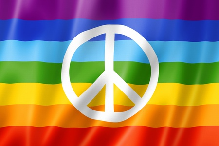 Rainbow peace flag, three dimensional render, satin texture Stock Photo - 20670153