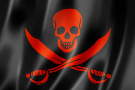 rebel flag: Pirate flag, Jolly Roger, three dimensional render, satin texture