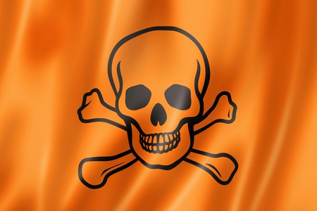 toxic poison skull flag, three dimensional render, satin texture photo