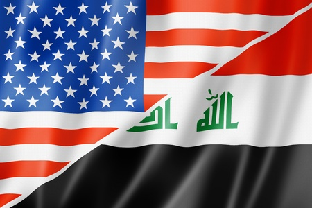 iraq war: Mixed USA and Iraq flag, three dimensional render, illustration
