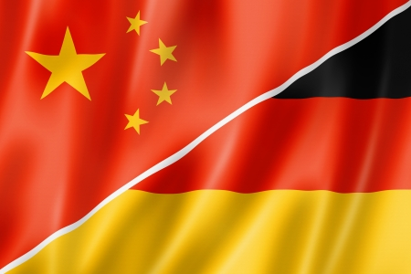 Mixed China and Germany flag, three dimensional render, illustration illustration