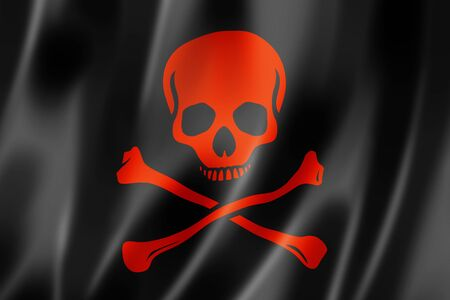 Pirate flag, Jolly Roger, three dimensional render, satin texture photo