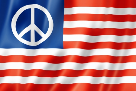peace flag: USA flag with peace sign, three dimensional render, satin texture
