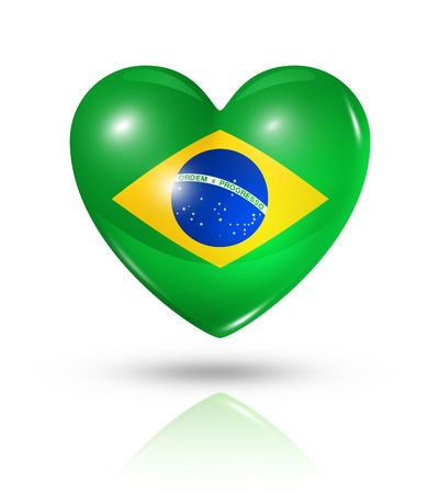 Love Brazil symbol. 3D heart flag icon isolated on white with clipping path photo