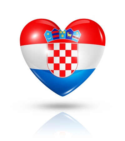 Love Croatia symbol. 3D heart flag icon isolated on white with clipping path photo