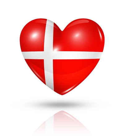 Love Denmark symbol. 3D heart flag icon isolated on white with clipping path