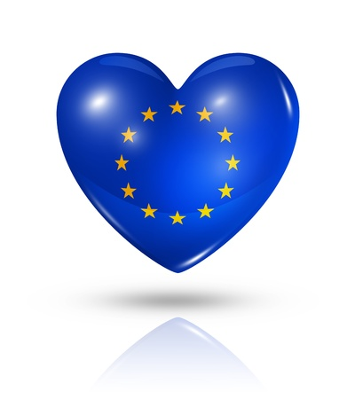 european economic community: Love European union symbol. 3D heart flag icon isolated on white with clipping path